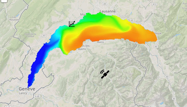 Surface temperatures in Lake Geneva on 1.7.2017: while in Geneva and on the southwest shore near Nyon, temperatures below 10 degrees were recorded, in Évian swimmers were enjoying 22 to 23-degree waters. (Source: meteolakes.epfl.ch)
