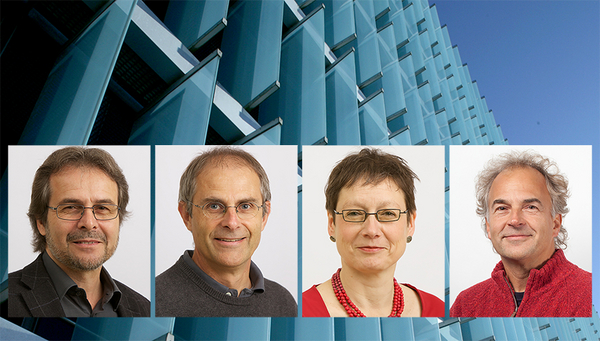 Eawag researchers Bernhard Truffer, Urs von Gunten, Juliane Hollender and Ole Seehausen (from left to right) are among the highly cited researchers worldwide (Photo: Eawag)
