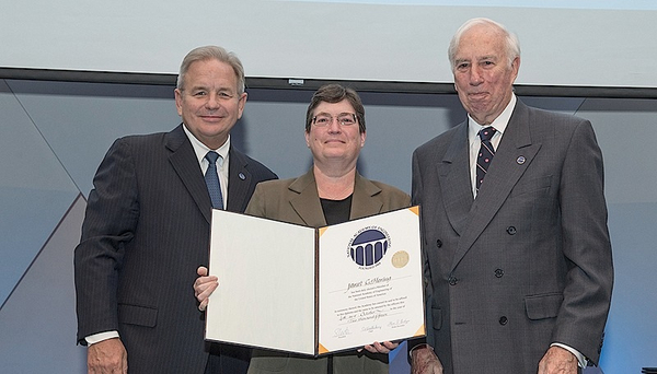 "Eawag director Janet Hering at the induction of the ""National Academy of Engineering"" in Washington. Photo: Cable Risdon for NAE"