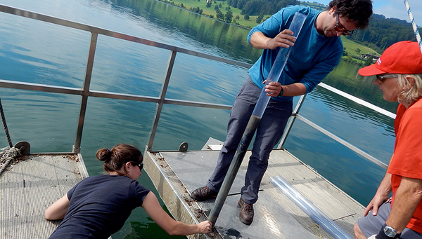 Marie-Eve Monchamp and her team taking sediment cores in Hallwilersee. (Eawag)