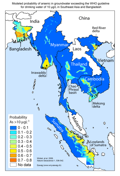 South East Asia Arsenic Probability Map Winkel Et Al 2008