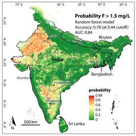 Die Karte zeigt, wo in Indien die Gefahr besonders hoch ist, dass Fluorid im Grundwasser den Grenzwert von 1,5 Milligramm pro Liter übersteigt. (Bild: Podgorski et al., 2018)