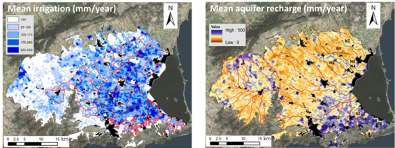 Average irrigation (left) and average groundwater feed (right)