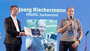 "Jörg Rieckermann awarded with ""Mid-term Career Achievement Award"" (Photo: ICUD 2017)"