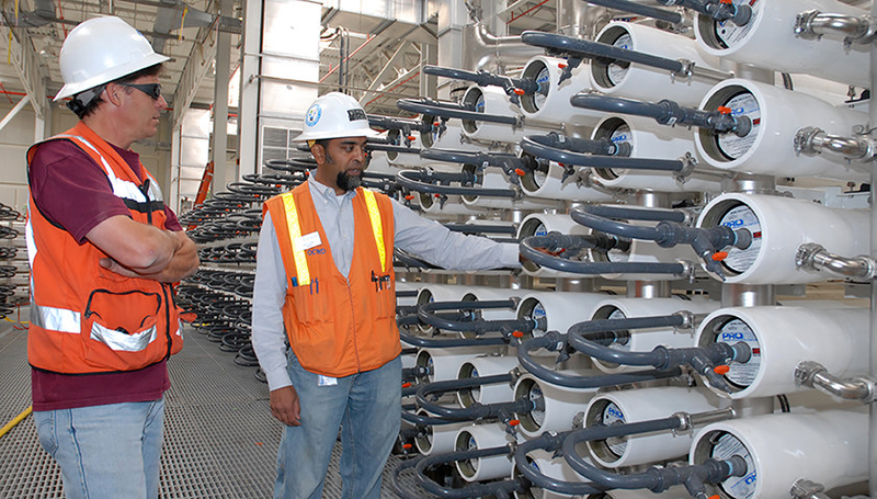 Fig. 1: Potable water reuse has been implemented at the Orange County Water District utility in California. This project, unlike others elsewhere in the state, did not encounter public opposition. Pictured here: the reverse osmosis system. (Photo: OCWD)