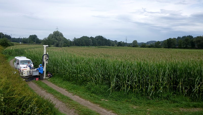 Groundwater sounding near Fehraltorf, ZH (Photo: Robin Weatherl, Eawag)