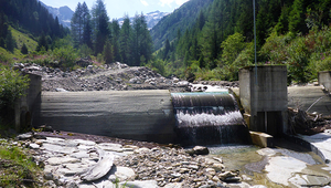 On the Blinnenbach stream near Reckingen (canton of Valais), connectivity is disrupted by the weir of the Wannebode hydropower plant. (Photo: Eawag)