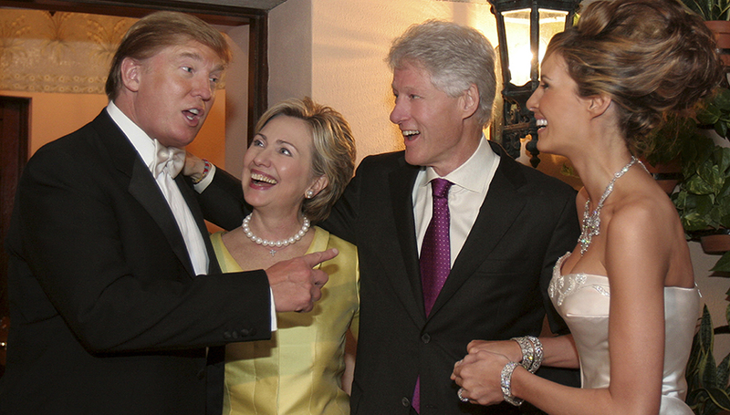 Fig. 1: Are Hillary Clinton and Donald Trump less far apart politically than they might believe? At Trump's wedding in 2005, at any rate, there was no sign of the bitter rivalry that now divides the two US presidential candidates.