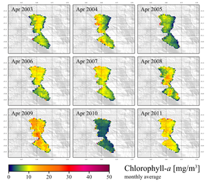 The diagram above shows the average chlorophyll concentration in Lake Zug in the month of April between 2003 and 2011. The information is taken from satellite pictures made by Envisat. (Diagram: Daniel Odermatt)