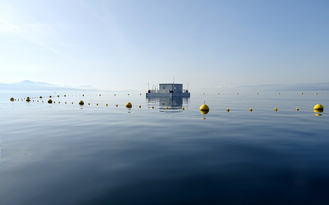 "The ""LéXPLORE"" platform on Lake Geneva (Pictures: Natacha Pasche)"