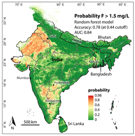 The new computer model created by Eawag researchers generates a map that shows which regions in India have a high likelihood of fluoride in groundwater exceeding the threshold of 1.5 milligrams per litre. (Image: Podgorski et al., 2018)