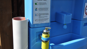 Hand washing station that treats and reuses grey water. (Eawag, Michel Riechmann)