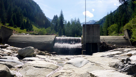 The weir of the Wannebode small hydroelectric power station near Reckingen (VS) interrupts the continuum of the Blinnenbach. (Photo: Eawag)